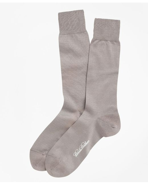 Brooks Brothers - Brown Egyptian Cotton Jersey Knit Crew Socks for Men - Lyst