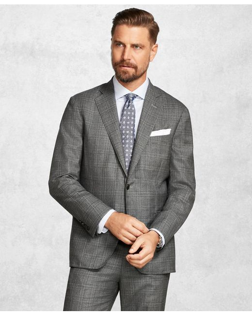 Brooks Brothers - Gray Golden Fleece® Brookscloudtm Medium Grey Plaid Suit for Men - Lyst