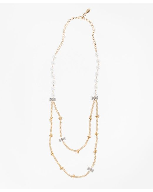Brooks Brothers - Metallic Glass Pearl And Rhinestone Bow And Long Necklace - Lyst