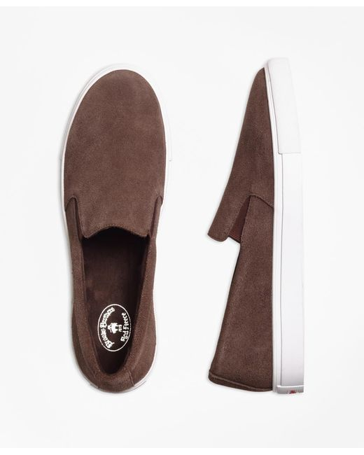Brooks Brothers | Brown Suede Slip-on Sneakers for Men | Lyst