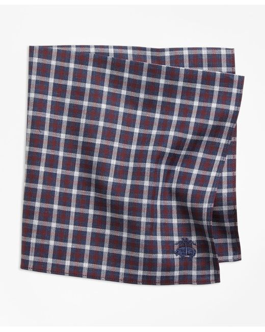 Brooks Brothers - Blue Check Pocket Square for Men - Lyst