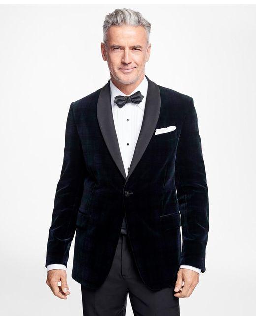 Brooks Brothers Blue Slim Fit Black Watch Shawl Collar Tuxedo Jacket for men