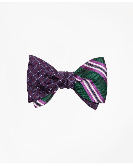 Brooks Brothers - Green Framed Parquet With Natte Double Stripe Reversible Bow Tie for Men - Lyst
