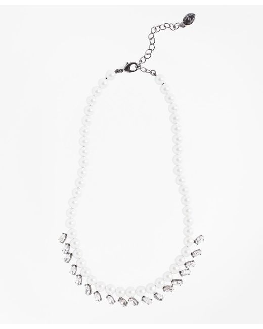 Brooks Brothers - Metallic Glass Pearl And Rhinestone Necklace - Lyst