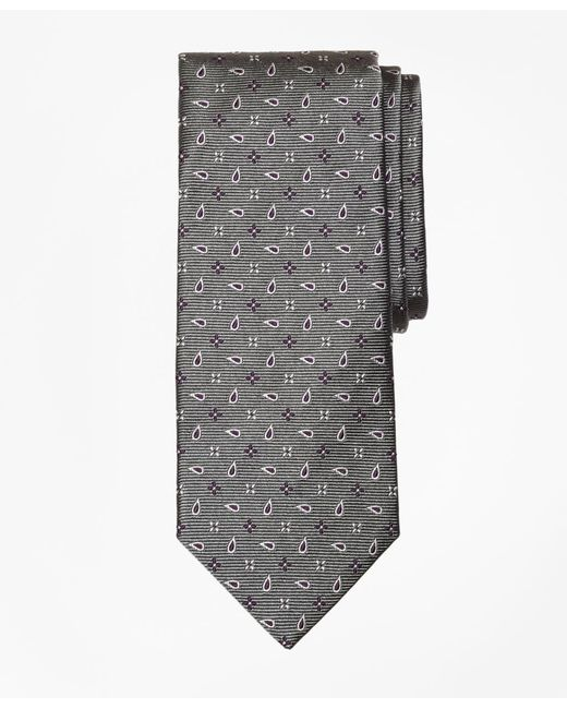Brooks Brothers - Gray Spaced Flower And Pine Tie for Men - Lyst