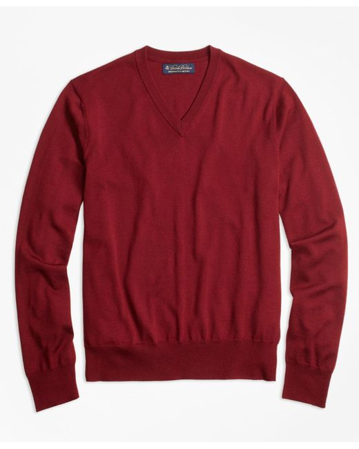 Brooks Brothers - Red Brookstech Merino Wool V-neck Sweater for Men - Lyst