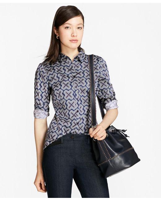 Brooks Brothers | Blue Geometric-print Tailored-fit Shirt | Lyst