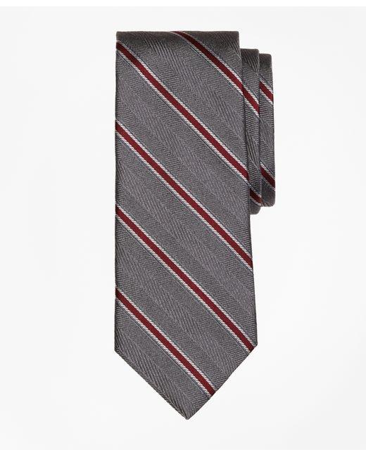 Brooks Brothers   Gray Herringbone Framed Stripe Tie for Men   Lyst