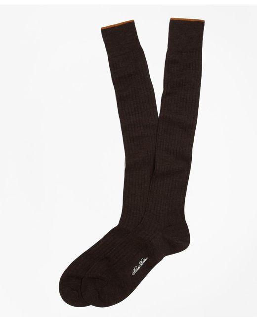 Brooks Brothers   Brown Merino Wool Golden Fleece® Sized Over-the-calf Socks for Men   Lyst