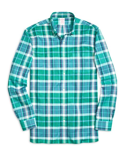 Brooks Brothers | Green Madison Fit Madras Short-sleeve Sport Shirt for Men | Lyst