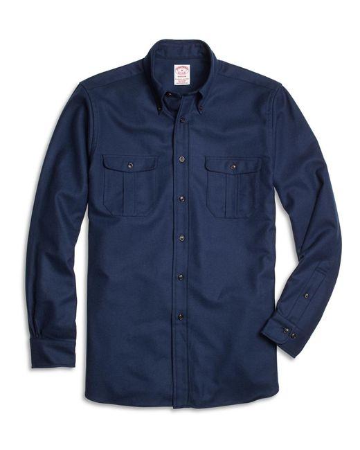 Brooks Brothers   Blue Milano Fit Saxxon Wool Sport Shirt for Men   Lyst