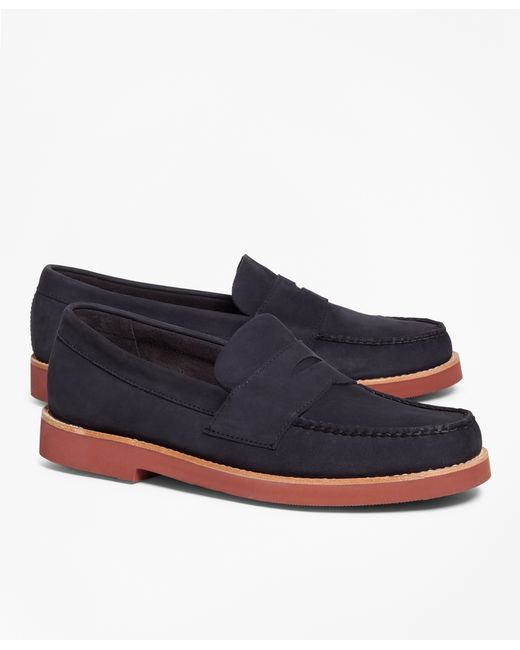 Brooks Brothers | Blue Nubuck Penny Loafers for Men | Lyst