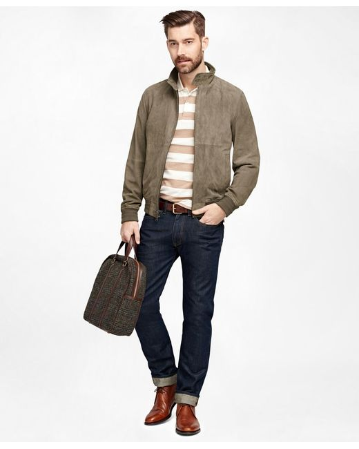 Brooks Brothers | Gray Suede Barracuda Jacket | Lyst