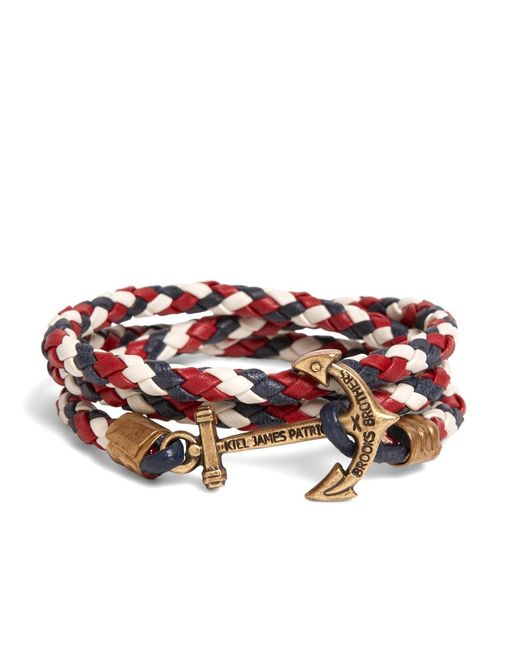Brooks Brothers | Kiel James Patrick Red Leather Wrap Bracelet for Men | Lyst