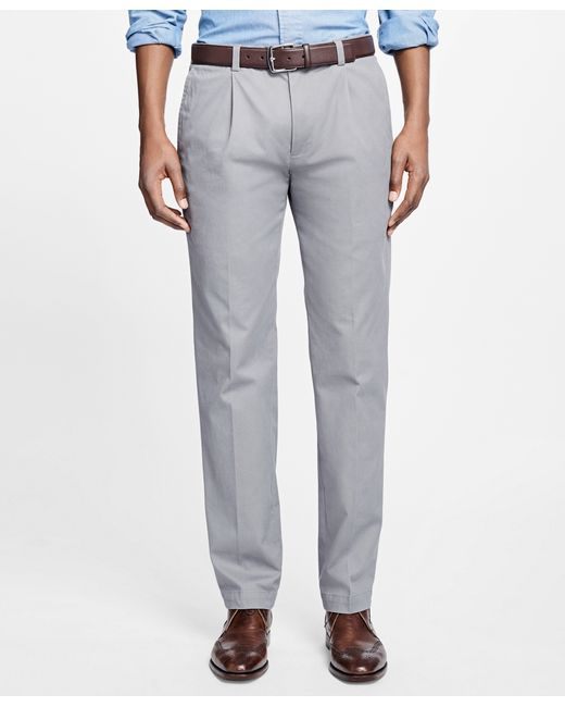 Brooks Brothers | Gray Milano Fit Supima® Cotton Stretch Pleat-front Chinos for Men | Lyst