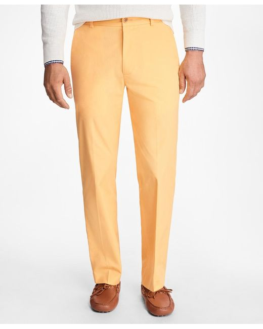 Brooks Brothers | Yellow Clark Fit Supima® Cotton Poplin Pants for Men | Lyst