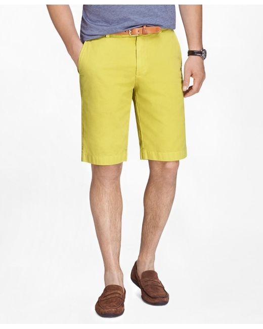 "Brooks Brothers | Yellow Garment-dyed 11"" Lightweight Cotton Bermuda Shorts for Men 