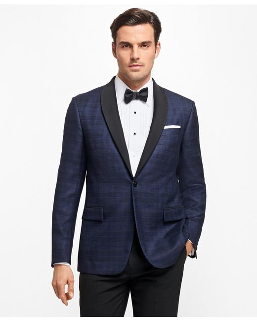 Brooks Brothers | Blue Regent Fit Plaid Tuxedo Jacket for Men | Lyst