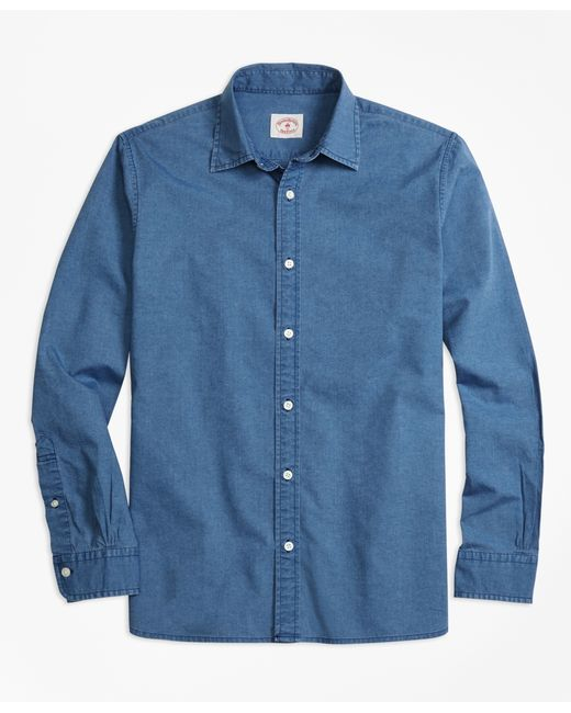 Brooks Brothers | Blue Chambray Sport Shirt for Men | Lyst