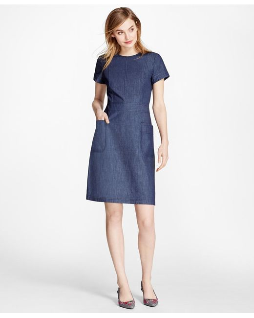 Brooks Brothers | Blue Denim A-line Dress | Lyst