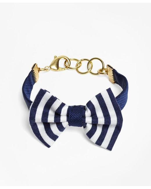 Brooks Brothers | Blue Kiel James Patrick Navy And White Stripe Bow Tie Bracelet | Lyst