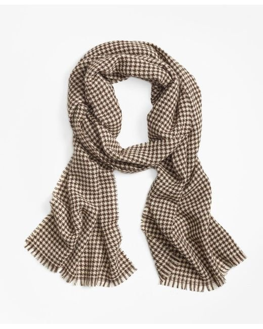 Brooks Brothers - Brown Cashmere Houndstooth Scarf for Men - Lyst