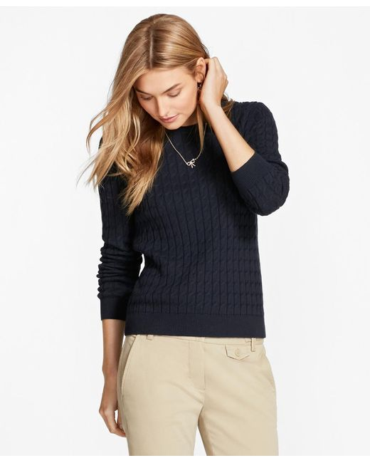Brooks Brothers - Blue Cable-knit Cotton-cashmere Sweater - Lyst