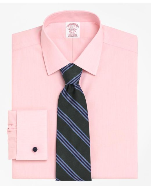 Brooks Brothers - Pink Non-iron Traditional Fit Spread Collar French Cuff Dress Shirt for Men - Lyst