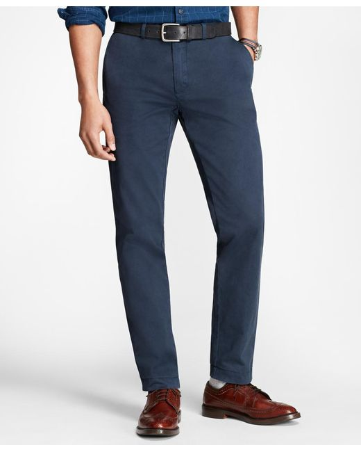 Brooks Brothers - Blue Slim Fit Garment-dyed Chinos for Men - Lyst