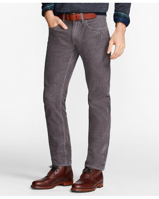 Brooks Brothers | Gray Garment-dyed 15-wale Corduroy Pants for Men | Lyst