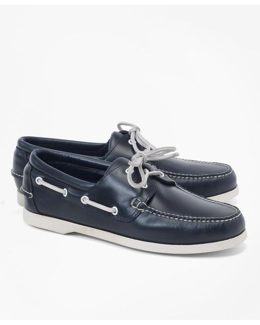 Brooks Brothers - Blue Leather Boat Shoes for Men - Lyst