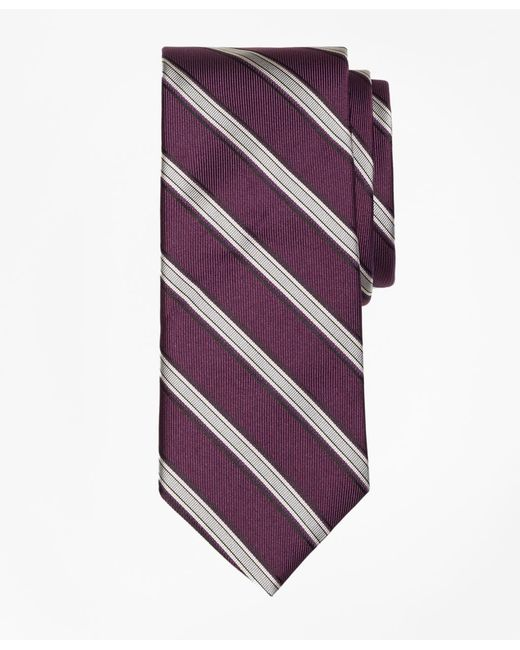 Brooks Brothers - Purple Twill Framed Stripe Tie for Men - Lyst