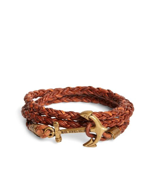 Brooks Brothers - Brown Kiel James Patrick Walnut Leather Rope Bracelet for Men - Lyst