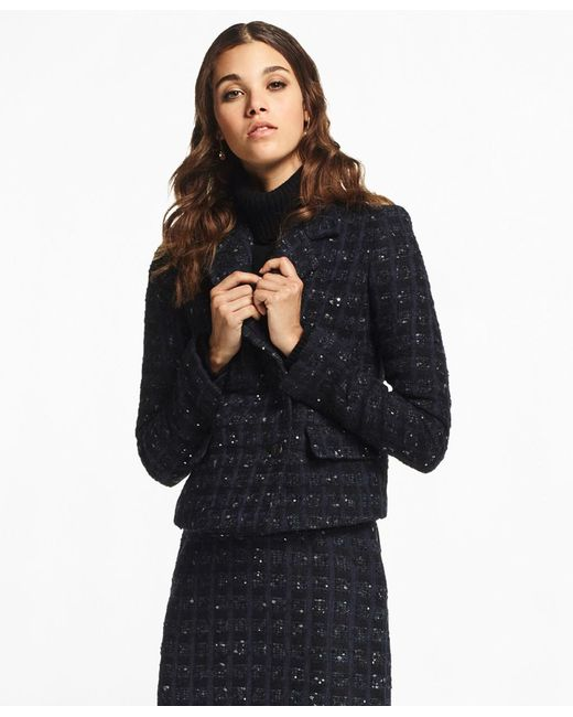 Brooks Brothers | Blue Checked Boucle Tweed Jacket | Lyst