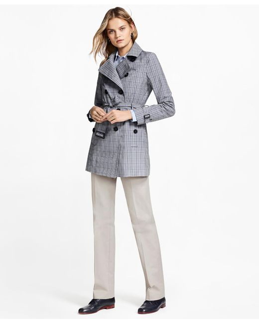 Brooks Brothers | Blue Plaid Stretch Cotton Trench Jacket | Lyst