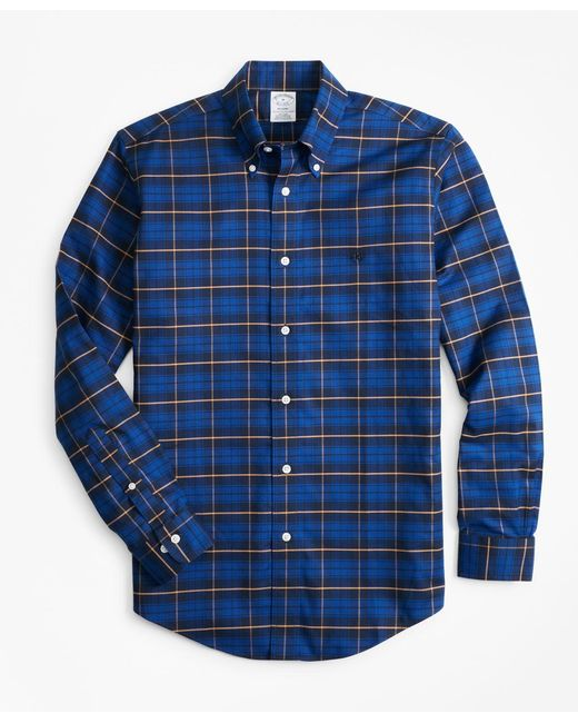 Brooks Brothers - Blue Non-iron Regent Fit Plaid Sport Shirt for Men - Lyst
