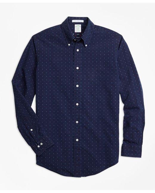 Brooks Brothers - Blue Milano Fit Indigo Stripe Dobby Sport Shirt for Men - Lyst