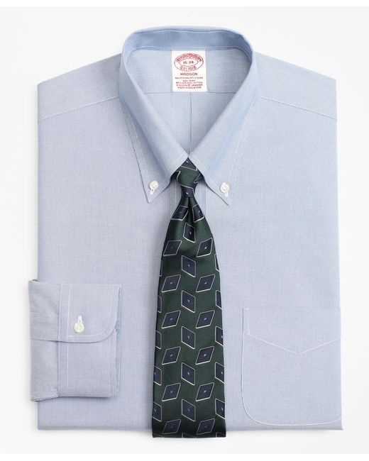Brooks Brothers - Blue Stretch Madison Classic-fit Dress Shirt, Non-iron Hairline Stripe for Men - Lyst