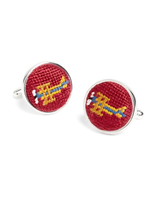 Brooks Brothers | Red Needlepoint Cufflinks for Men | Lyst