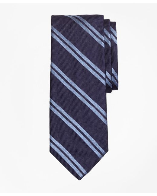 Brooks Brothers - Blue Textured Heathered Double Stripe Tie for Men - Lyst