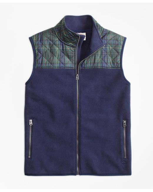 Brooks Brothers | Blue Plaid Quilted-yoke Polar Fleece Vest for Men | Lyst
