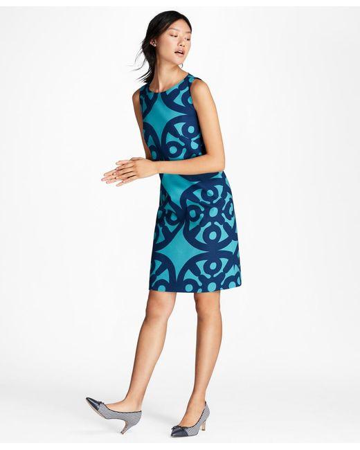 Brooks Brothers | Blue Medallion-print Stretch-cotton Shift Dress | Lyst