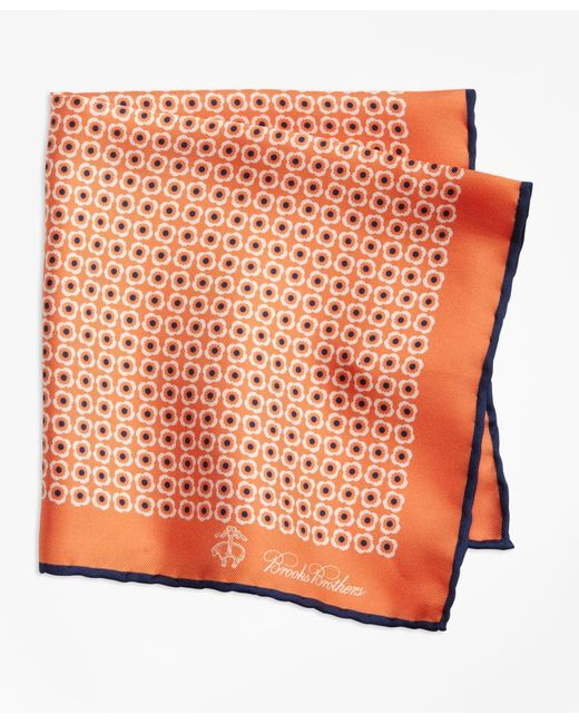 Brooks Brothers - Orange Flower Medallion Pocket Square for Men - Lyst