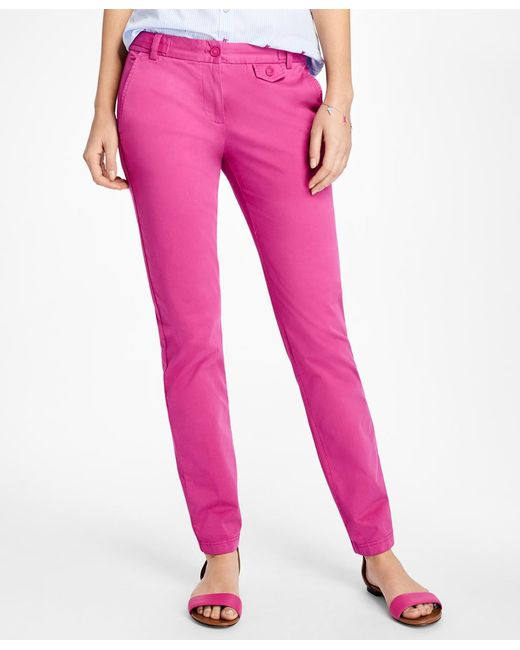 Brooks Brothers - Pink Stretch-cotton Twill Pants - Lyst