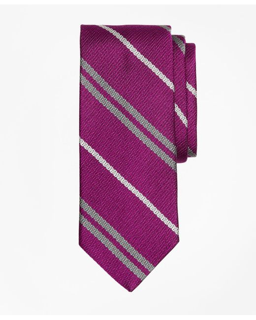 Brooks Brothers - Purple Alternating Double Stripe Tie for Men - Lyst