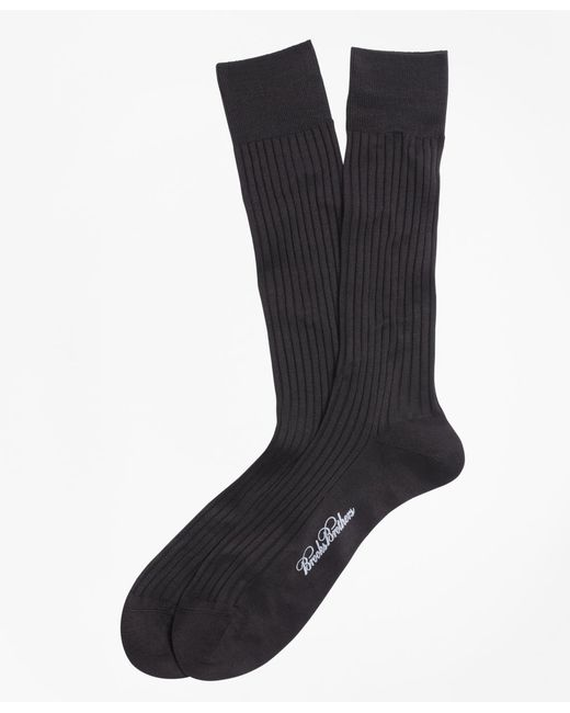 Brooks Brothers | Blue Egyptian Cotton Ribbed Crew Socks for Men | Lyst