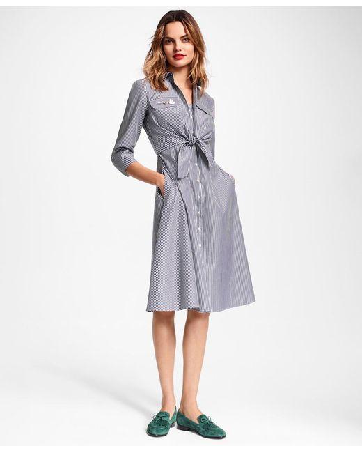 Brooks Brothers - Blue Petite Striped Cotton Poplin Tie-waist Shirt Dress - Lyst