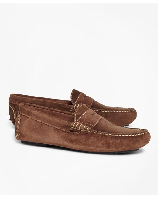 Brooks Brothers - Brown Suede Driving Mocs for Men - Lyst