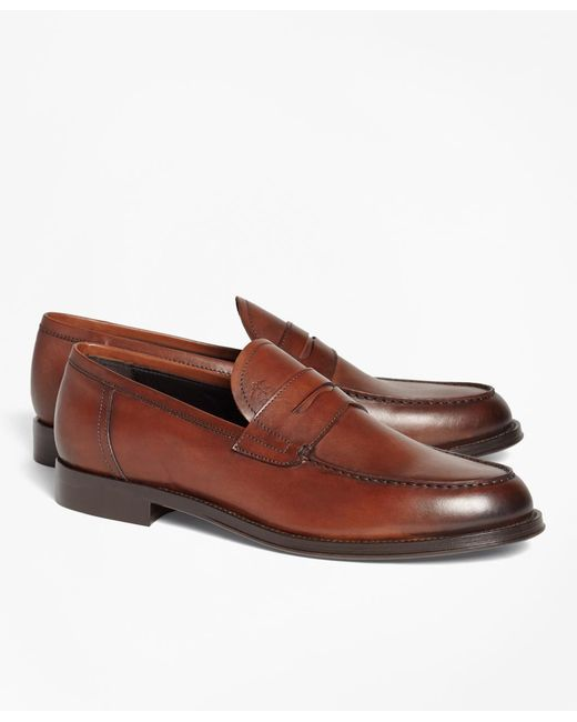 Brooks Brothers - Brown 1818 Footwear Leather Penny Loafers for Men - Lyst