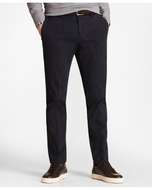 Brooks Brothers - Blue Garment-dyed Stretch Cavalry Twill Chinos for Men - Lyst